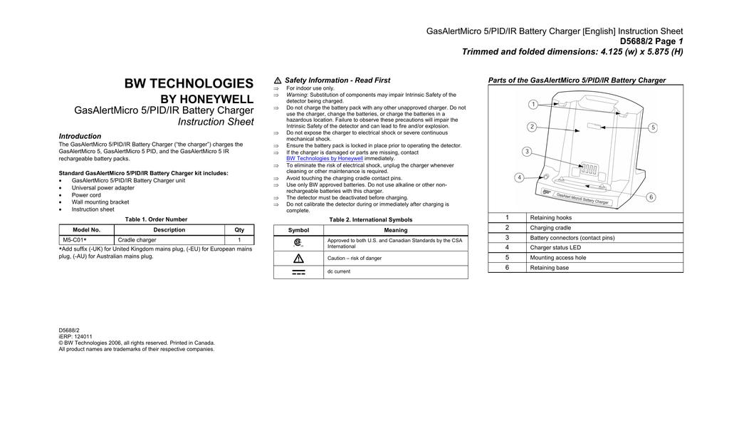 BW TECHNOLOGIES BY HONEYWELL GasAlertMicro 5/PID/IR Battery
