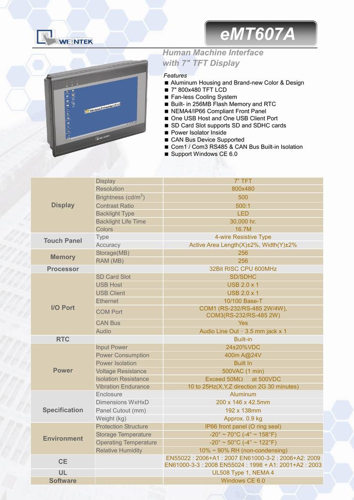 eMT607A Datasheet | manualzz com