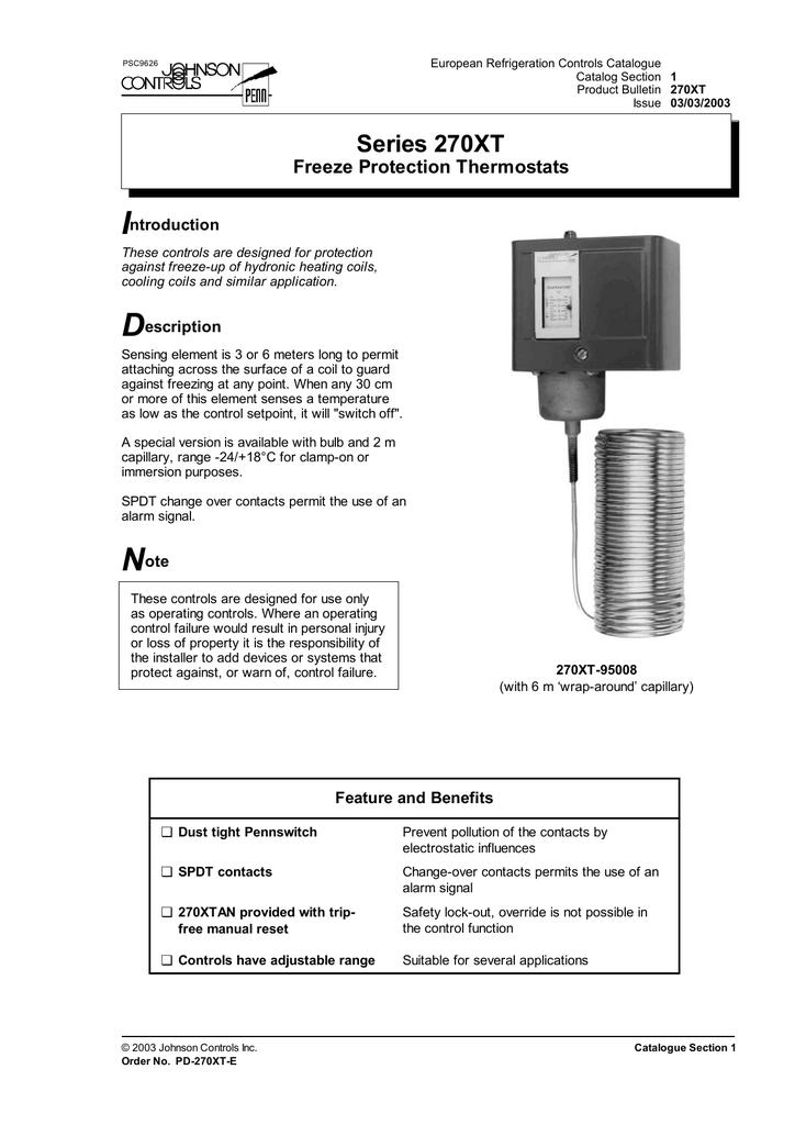 Johnson Controls WEL14A-602R Immersion Well 1//2 NPT 1//2 NPT Johnson Controls Inc