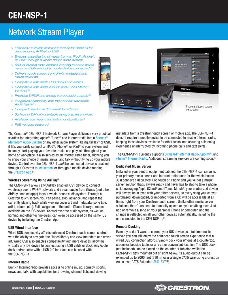 CEN-NSP-1 Network Stream Player | manualzz com