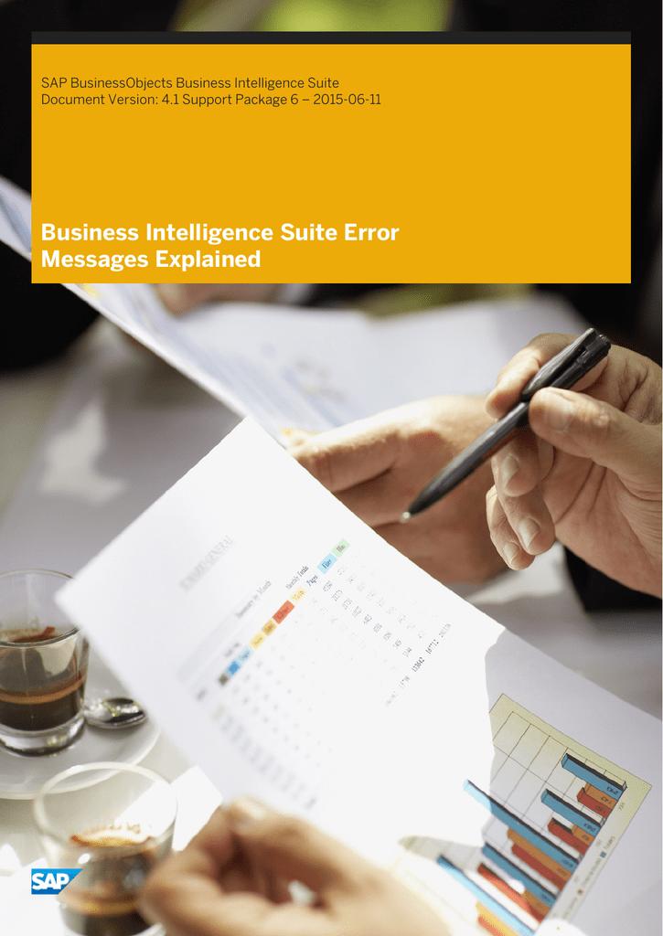 Business Intelligence Suite Error Messages Explained SAP