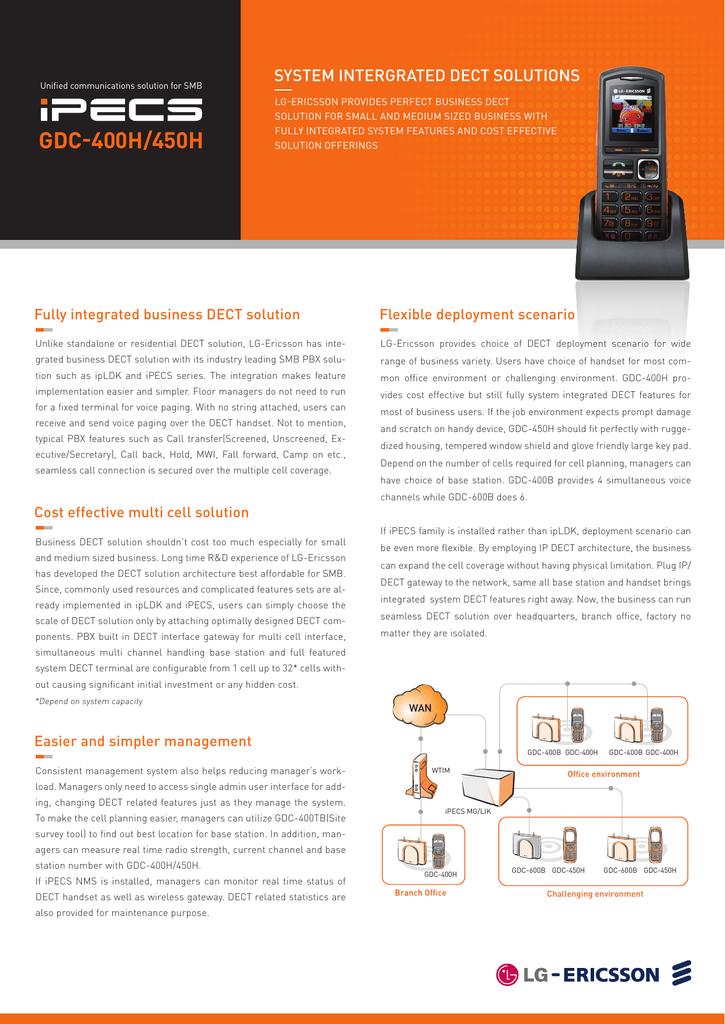iPECS GDC-400H/450H DECT Handset Datasheet | manualzz com