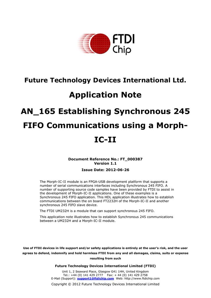 Establishing Synchronous 245 FIFO Communications using a Morph-IC-II
