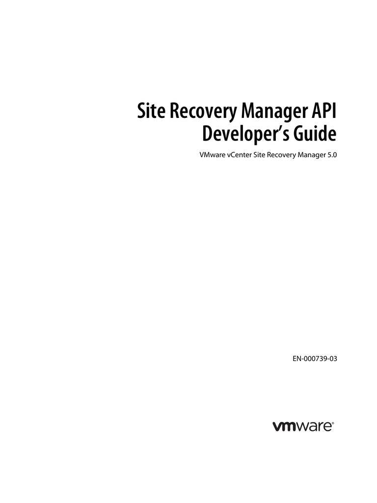 Site Recovery Manager API Developer's Guide   manualzz com