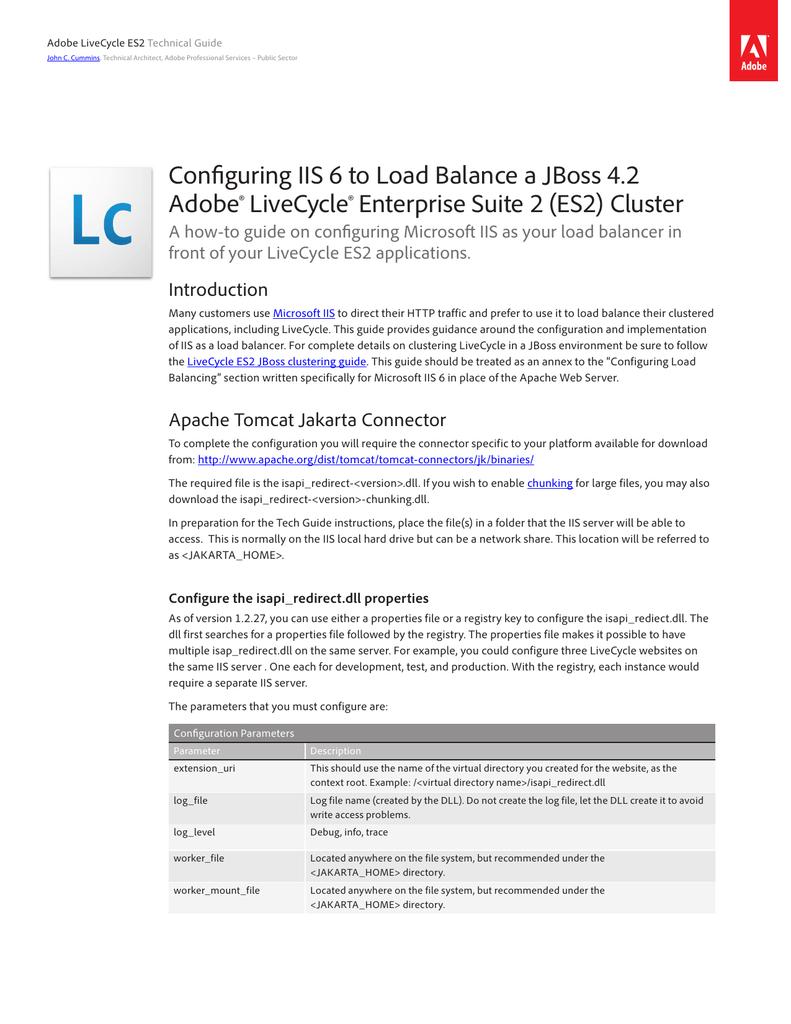 Configuring IIS 6 to load balance a JBoss 4 2 Adobe