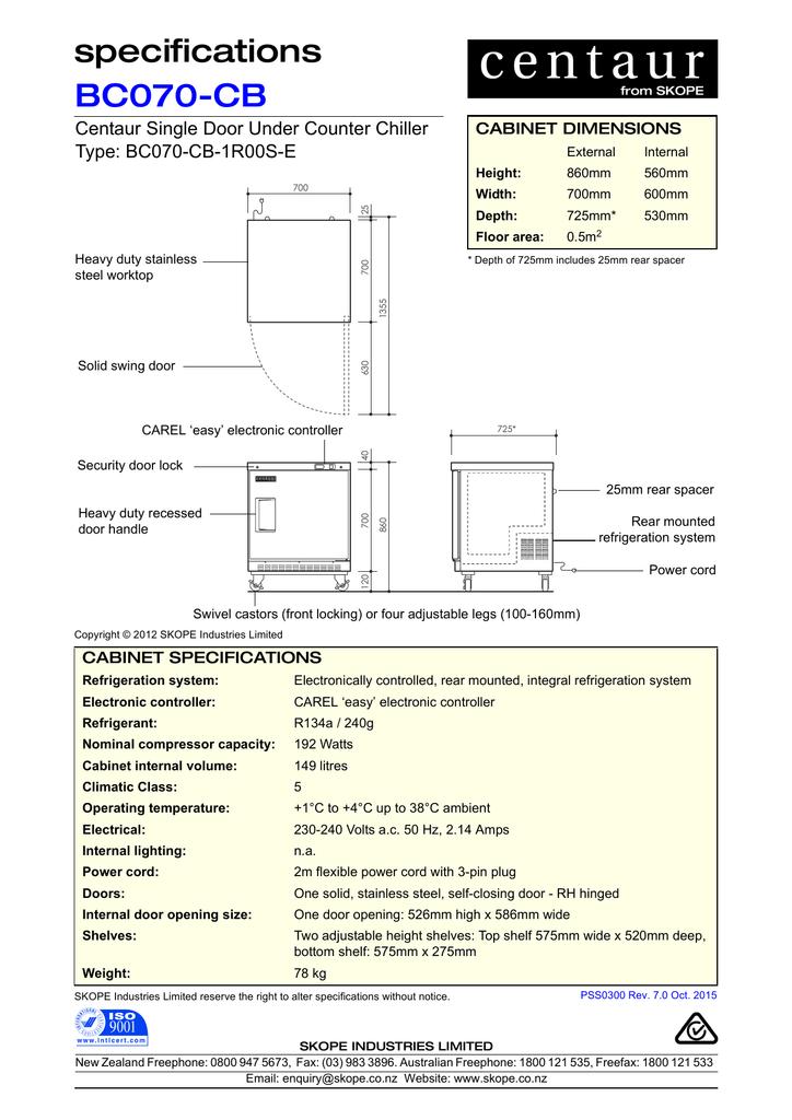 specifications BC070-CB Centaur Single Door Under Counter