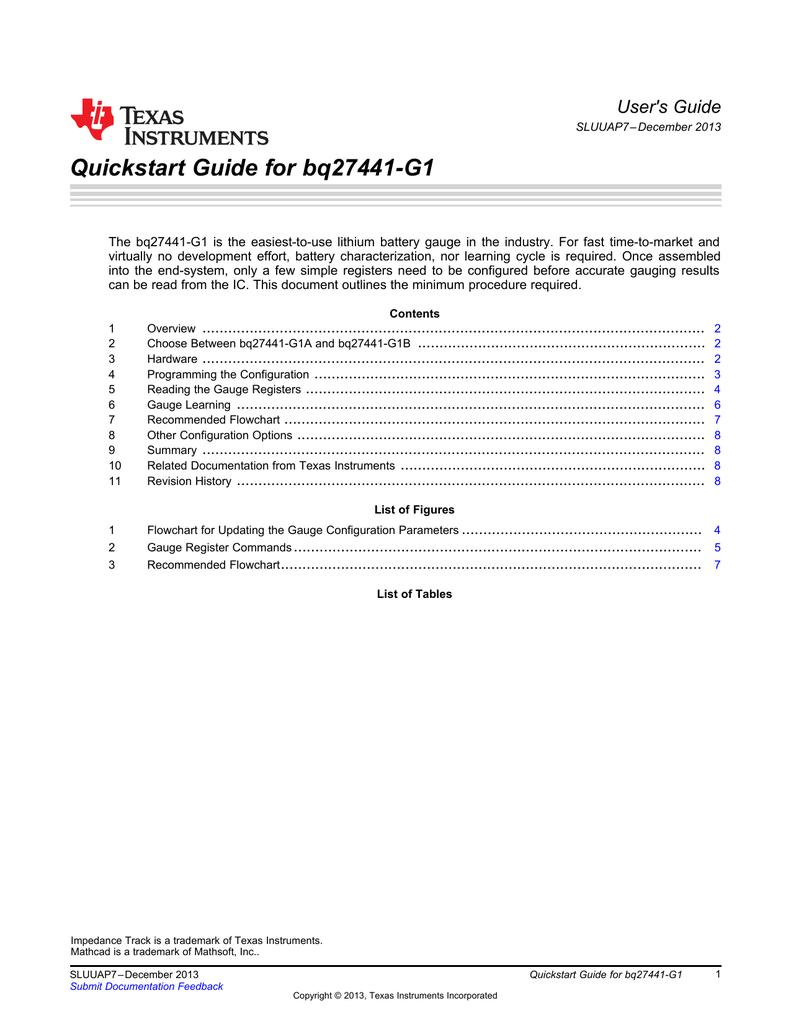Quickstart Guide for bq27441-G1 User's Guide   manualzz com
