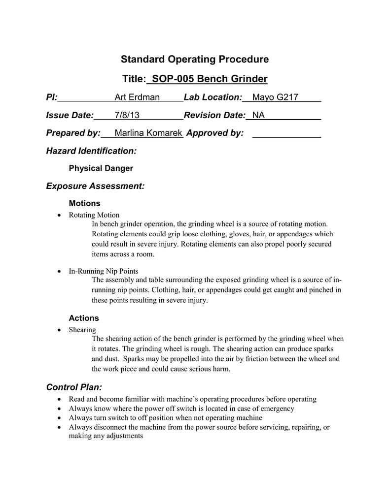 Standard Operating Procedure Title Sop 005 Bench Grinder