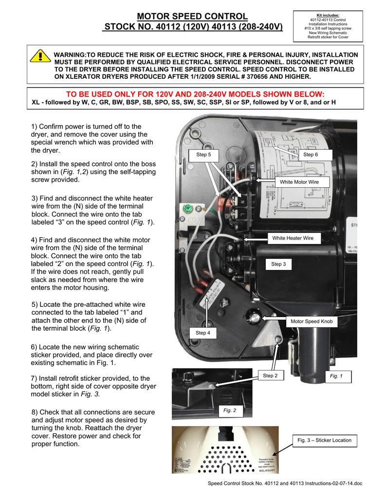 Xlerator Motor Sd Control Installation Instructions ... on