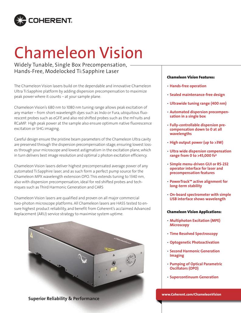 Chameleon Vision Data Sheet   manualzz com