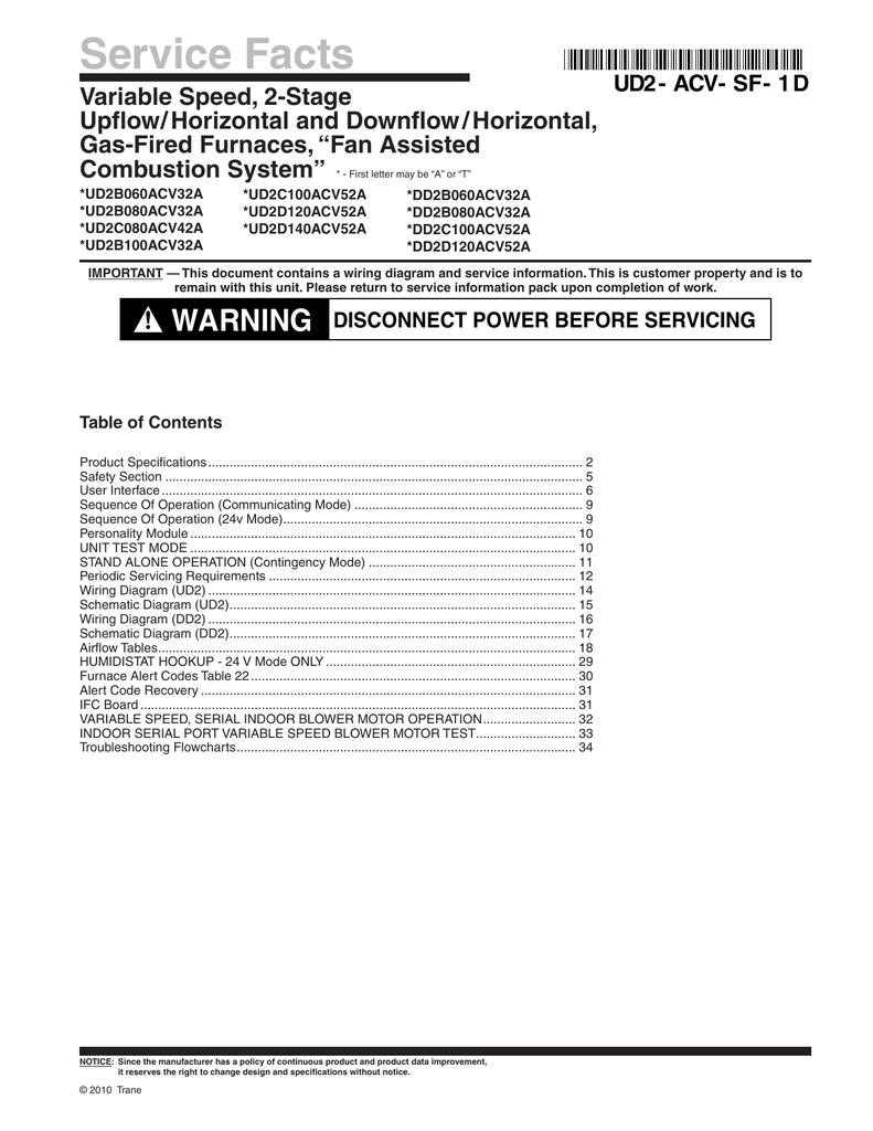 Trane XC80 Furnace Service Facts | manualzz com