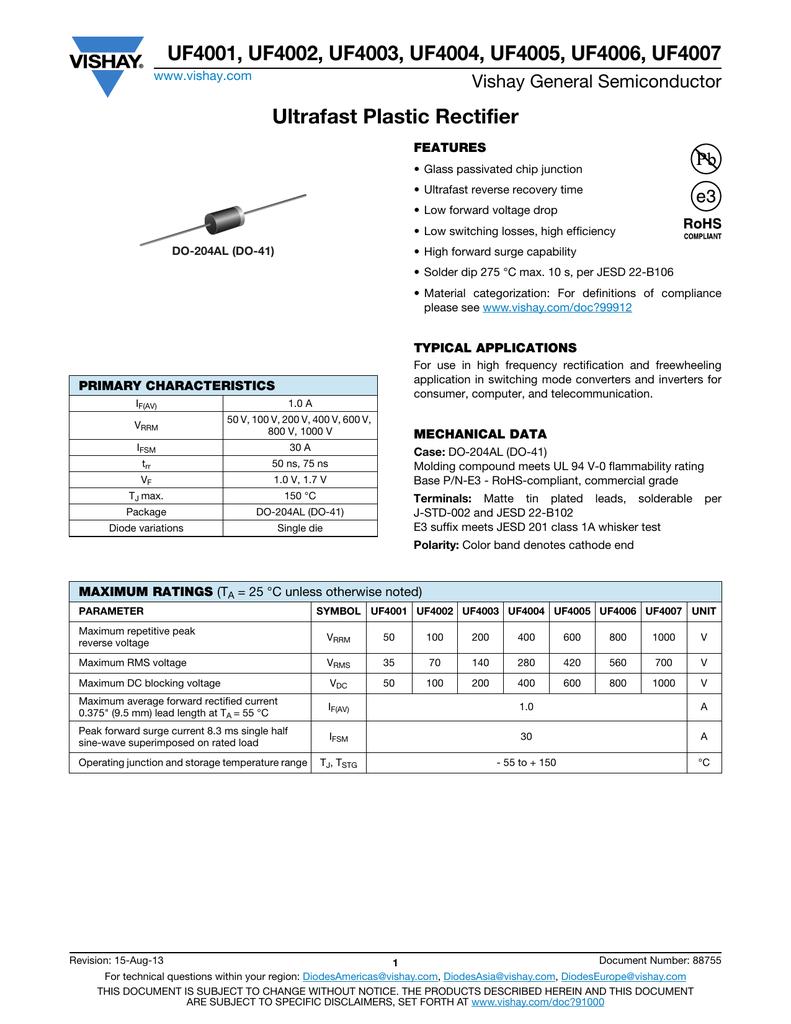 Vishay -ref:757 1 A 10 pcs UF4007 Ultrafast Plastic Rectifier 1000 V