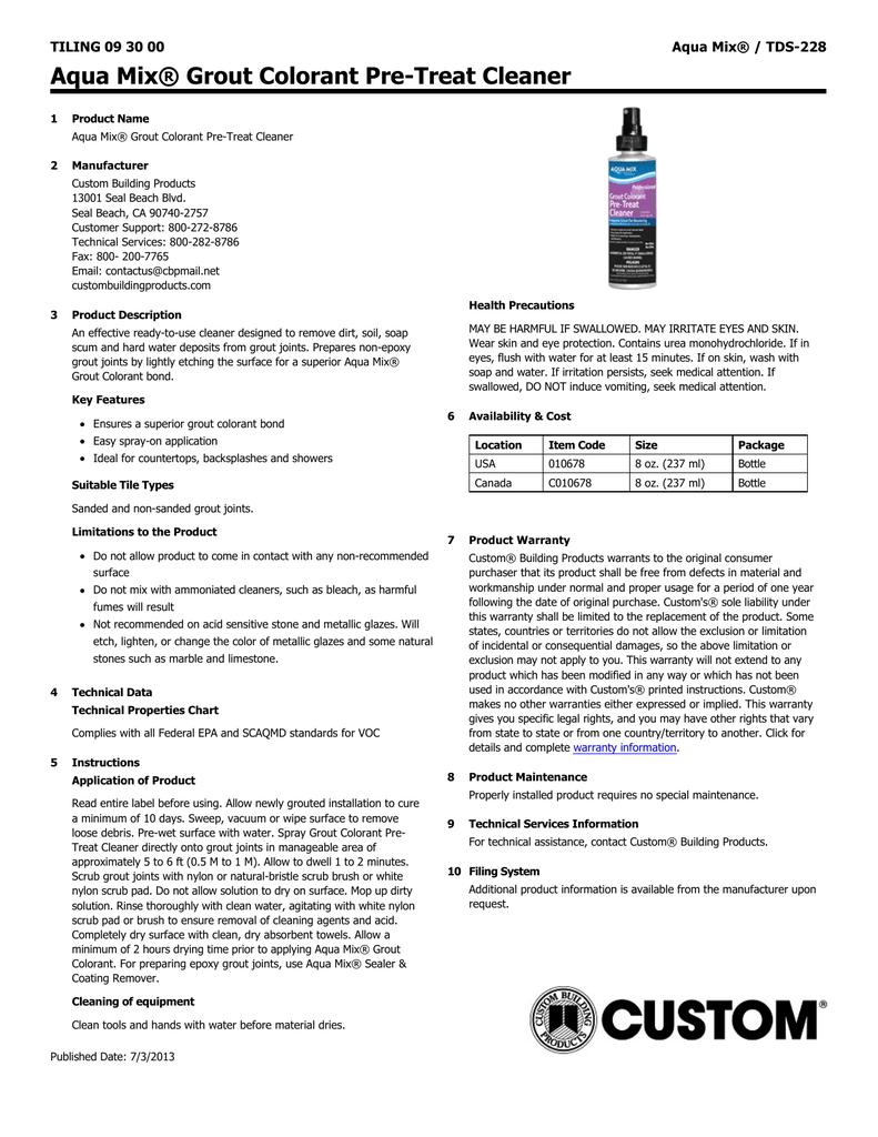 Grout Colorant Pre-treat Cleaner TDS-228 | manualzz com