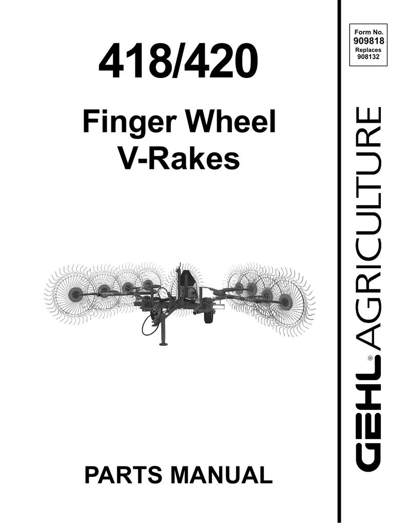 420 Wheel Rake Operators Manual Gehl 418 Tractors Patio, Lawn ...