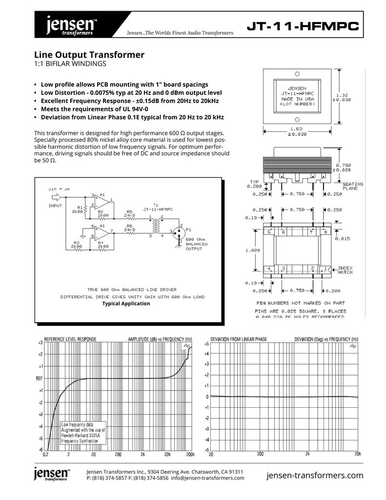 JT-11-HFMPC Line Output Transformer 1:1 BIFILAR WINDINGS