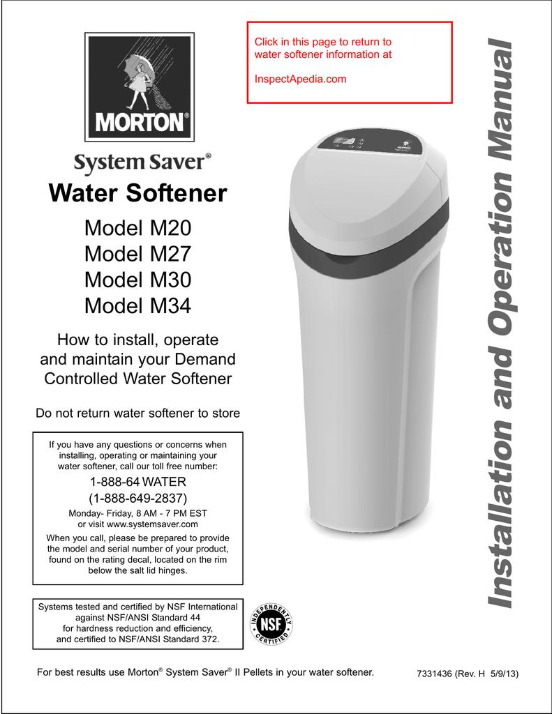 Morton System Saver Water Softener Model M20, Model M27