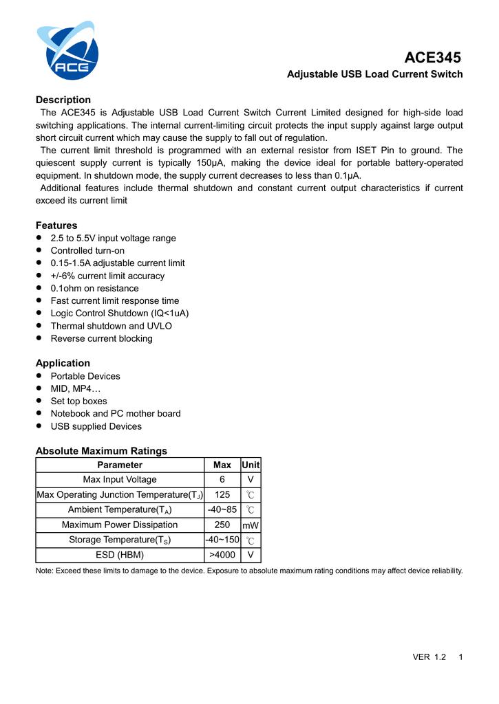 datasheet for ACE345BN+H by Ace Technology Co  Ltd | manualzz com