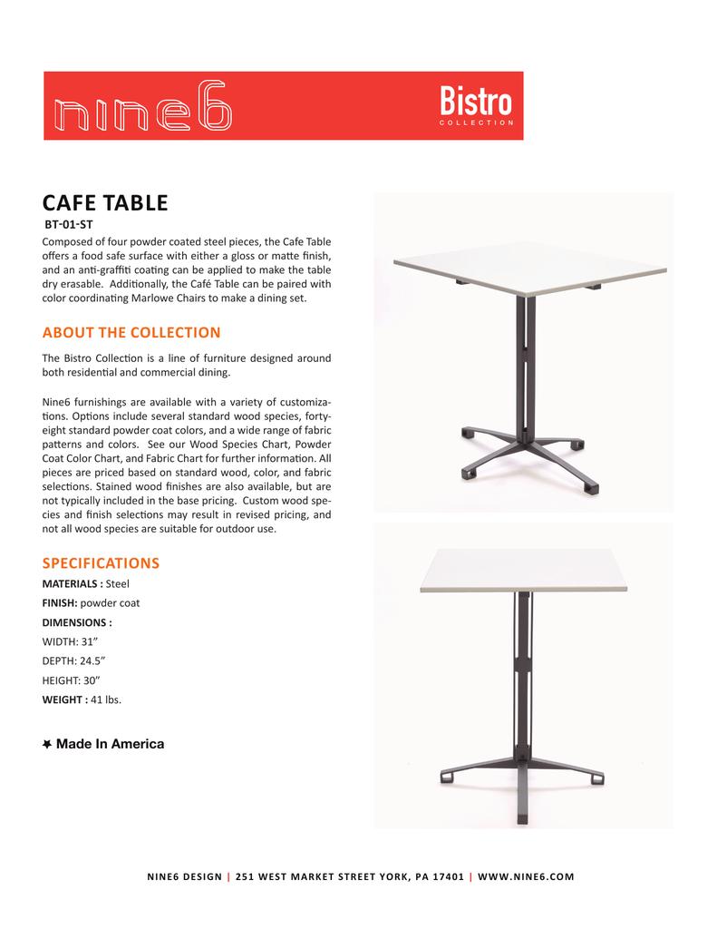 Nine Bistro Café Table - Cafe table dimensions