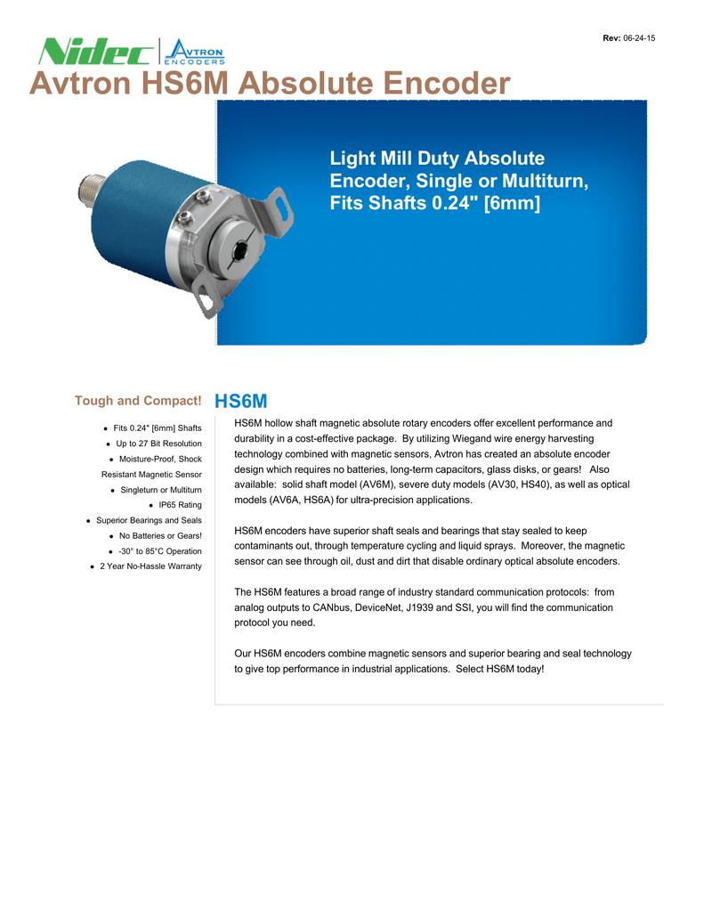 Avtron HS6M Absolute Encoder HS6M Light Mill Duty Absolute