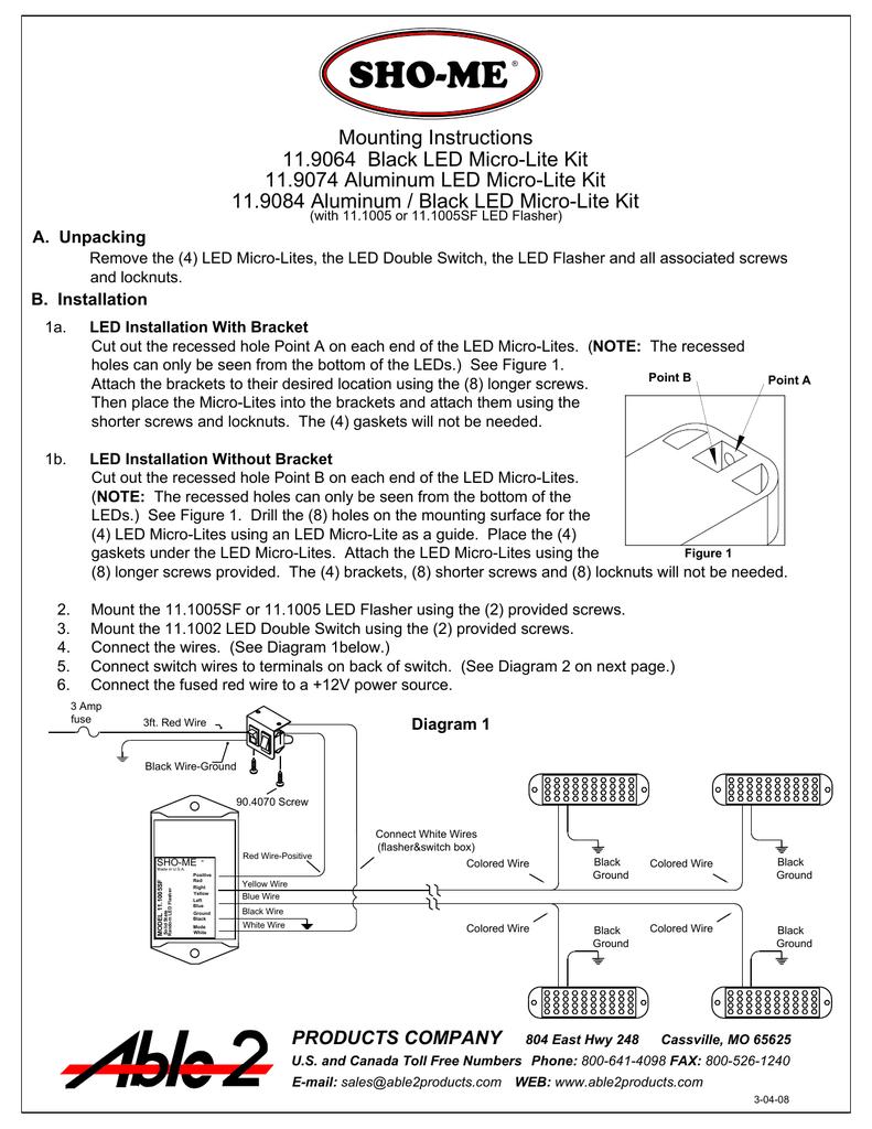 mounting instructions 11 9064 black led micro-lite kit