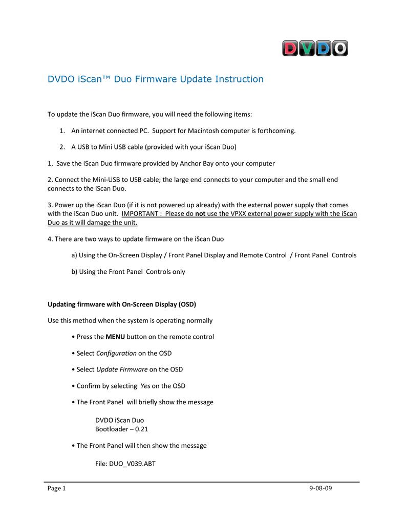 DVDO iScan™ Duo Firmware Update Instruction | manualzz com