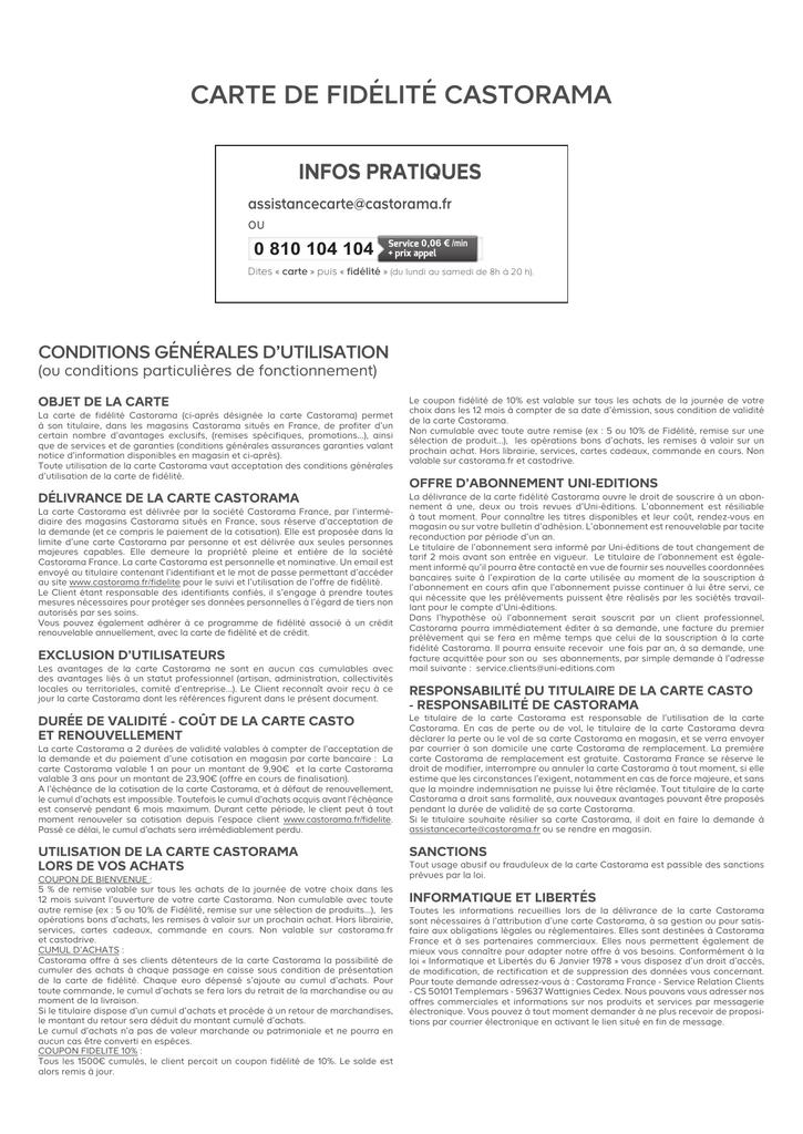 Carte Castorama Retour Marchandise.Lire Les Conditions Generales D Utilisation De La Carte