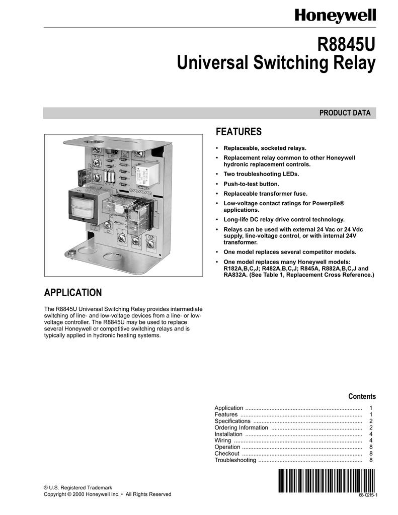Honeywell Switching Relay R8845u Wiring Diagram Free Download Boiler Aquastat Images Gallery