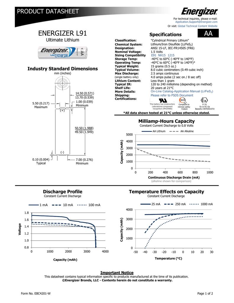 Aa Energizer L91 Product Datasheet Specifications Manualzz