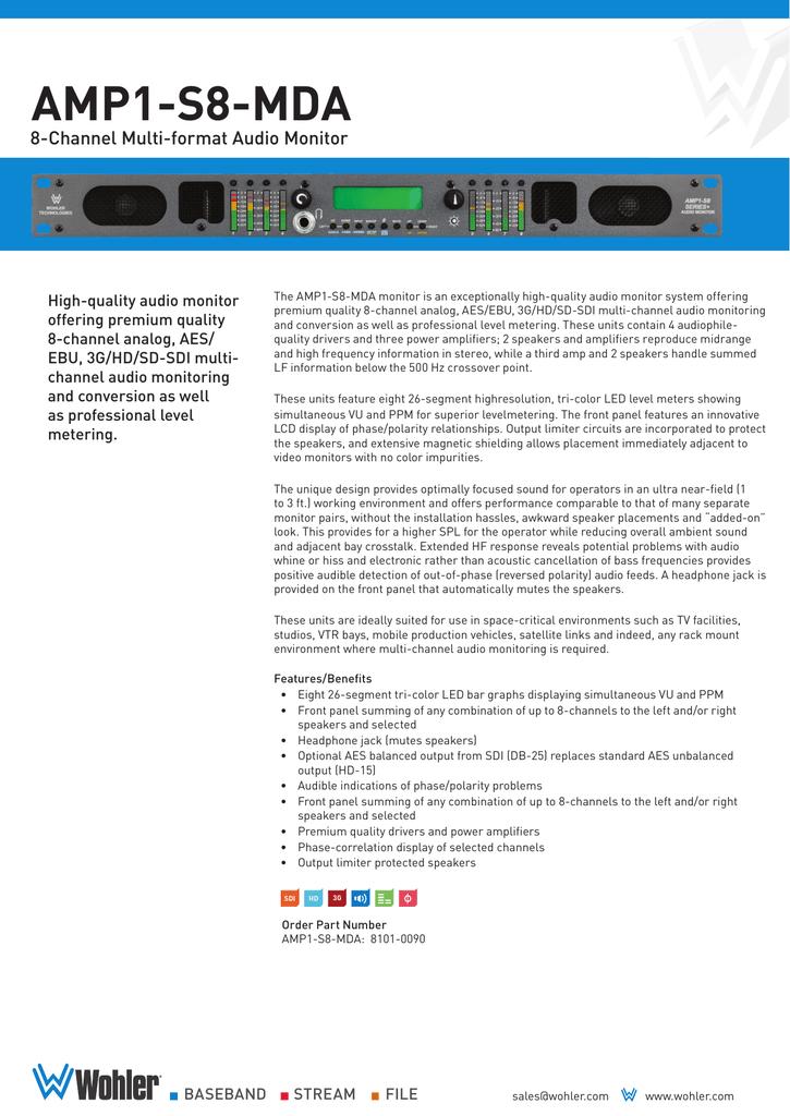 Wohler Amp1-s8mda 8 Channel Hd-sdi Sd-sdi Aes Ebu Und Analog Audio Monitor Easy To Use Video Production & Editing