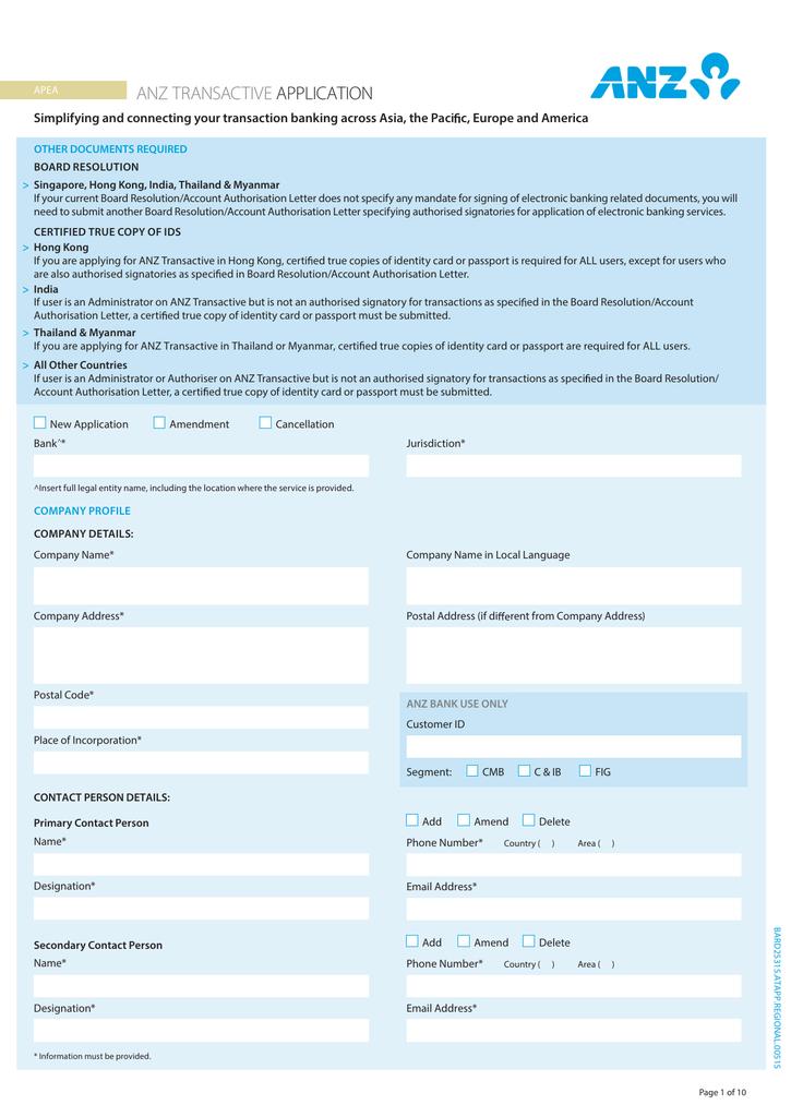 ANZ Transactive Application Form (PDF 1 75MB) | manualzz com