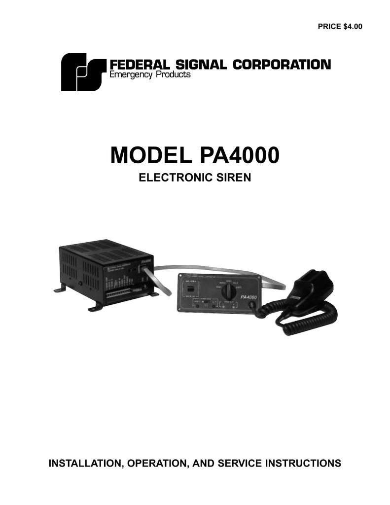 Model PA4000 Electronic Siren | manualzz.com on
