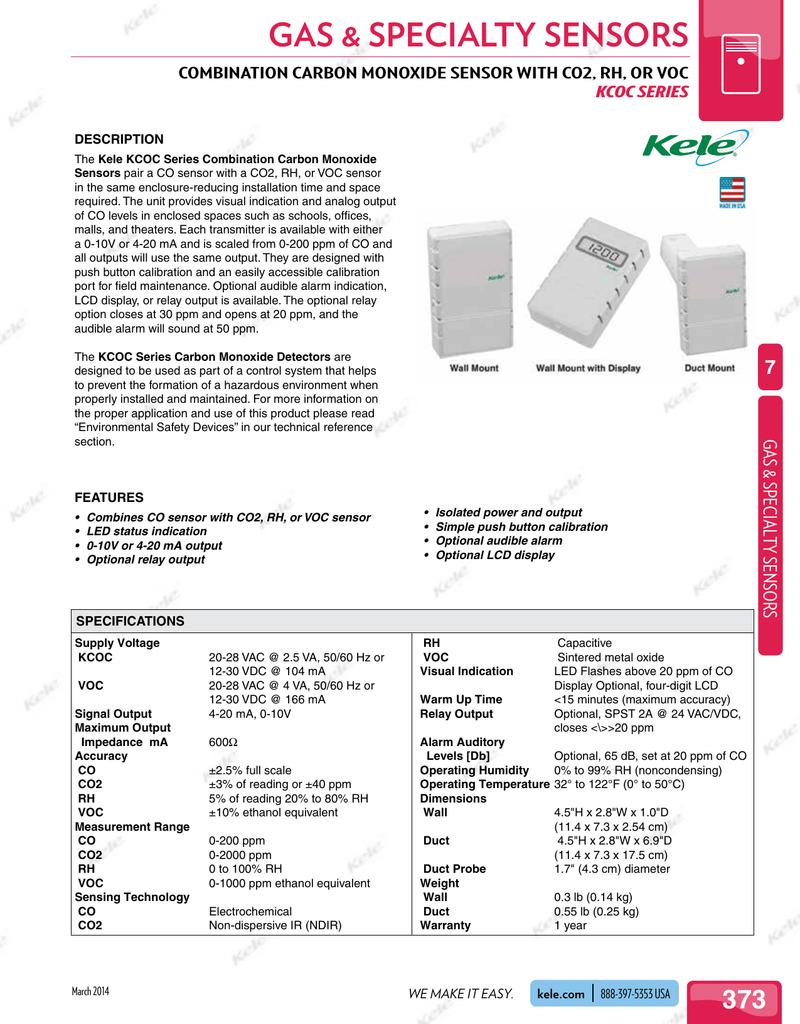 Kele CD-AD CO2 Duct Sensor Carbon Dioxide
