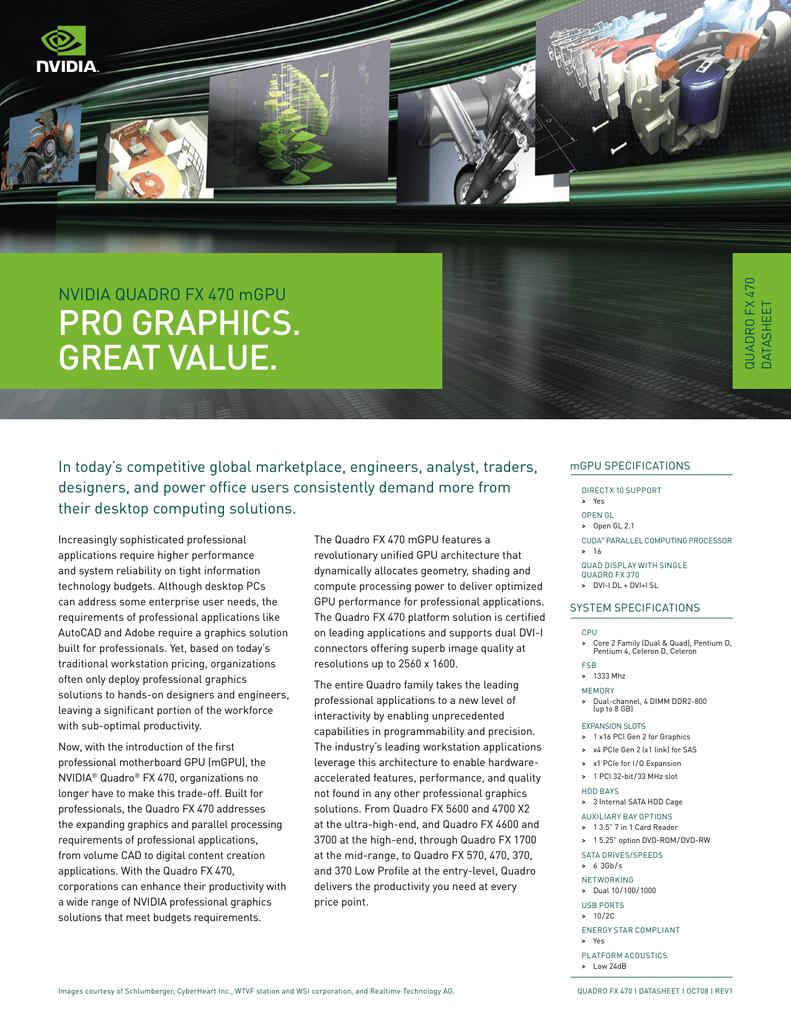 PRO GRAPHICS  GREAT VALUE  NVIDIA QUADRO FX 470 mGPU ASHEET