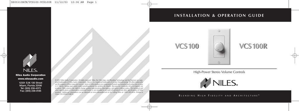 Niles audio vcs-2d-hp user's manual   manualzz. Com.