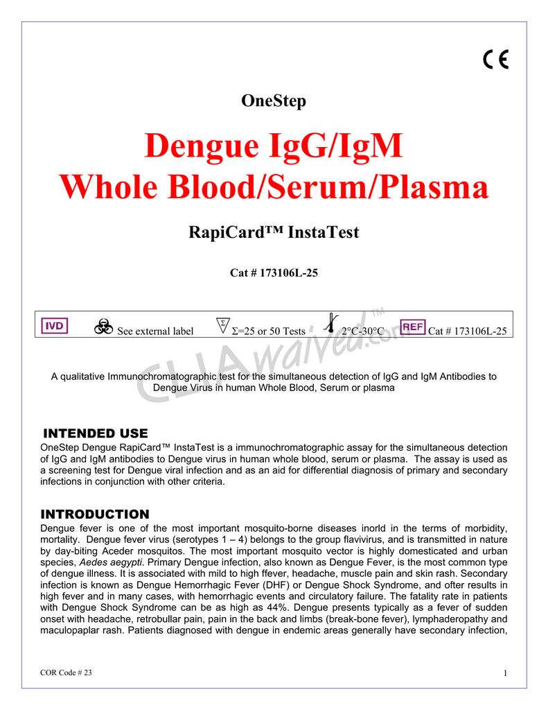 Dengue IgG/IgM Whole Blood/Serum/Plasma OneStep   manualzz com