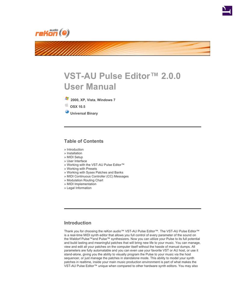 VST-AU Pulse Editor Manual 2 0 0 | manualzz com