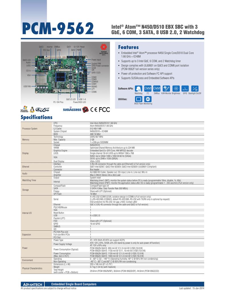 Advantech PCM-9562 Intel Chipset/Graphics X64 Driver Download