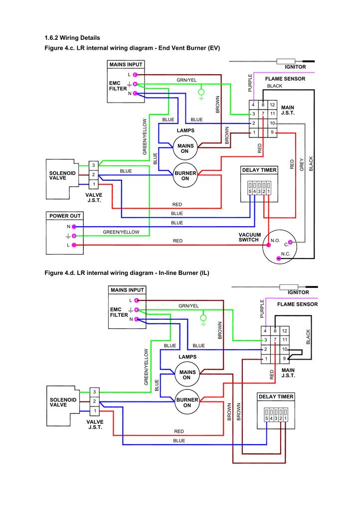 figure 4c lr internal wiring diagram  end vent burner