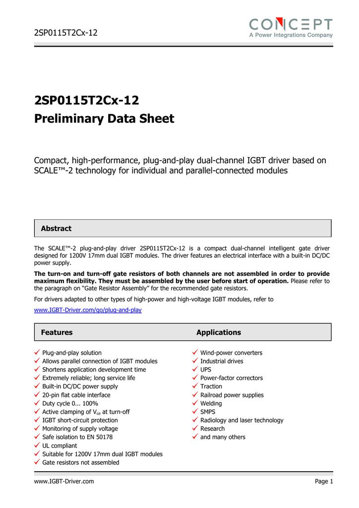 2SP0115T2Cx-12 Preliminary Data Sheet | manualzz com