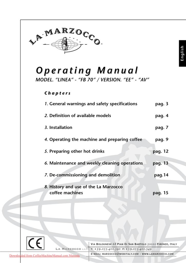 La Marzocco Linea AV User Guide Manual pdf | manualzz com