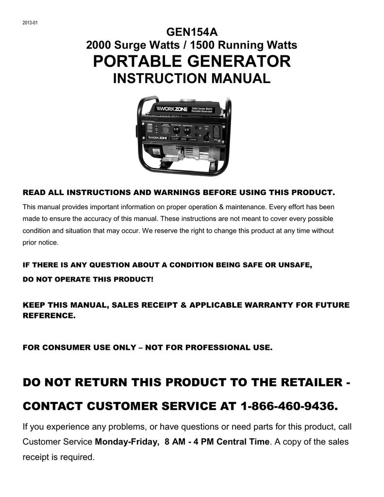gen154a workzone 2000 watt generator manualzz com rh manualzz com Home Depot Portable Generators Electric Generators Manual