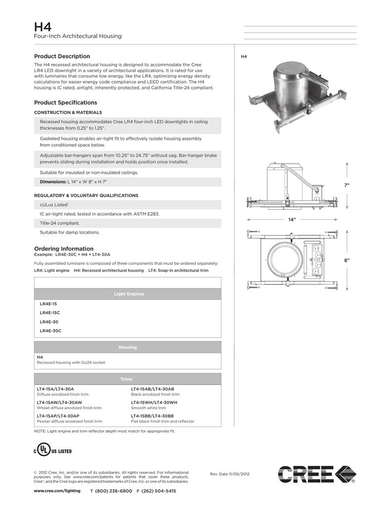 "Cree LT4-30A 4/"" Diffuse Anodized Reflector w// White Trim"