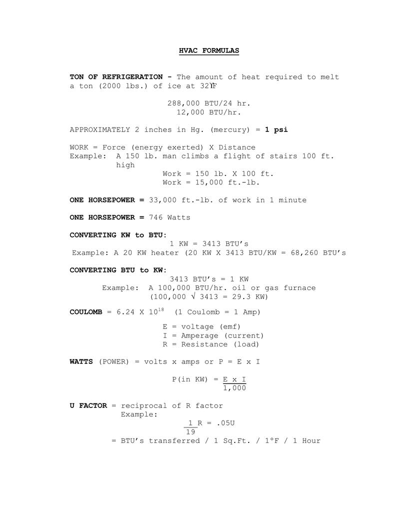HVAC Formulas | manualzz com
