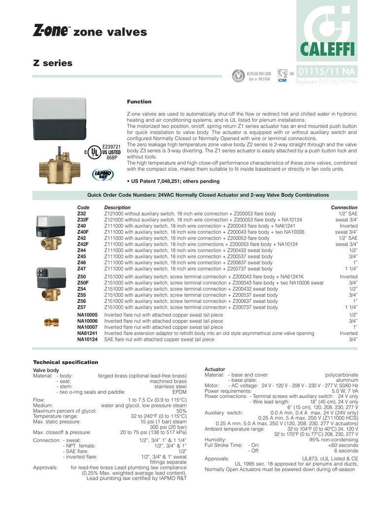 Caleffi Zone Valve Z111000 Wiring Diagram All Kind Of Honeywell V8043e1012 Datasheet Rh Manualzz Com Digital Thermostat