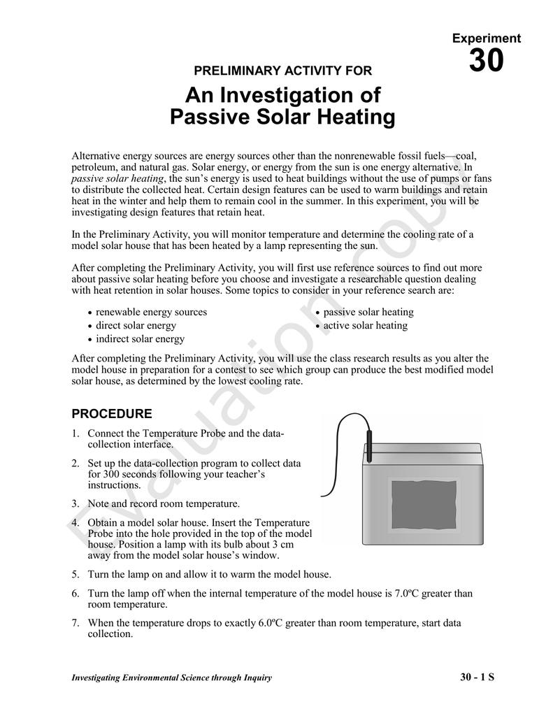 Investigation of Passive Solar Heating | manualzz com