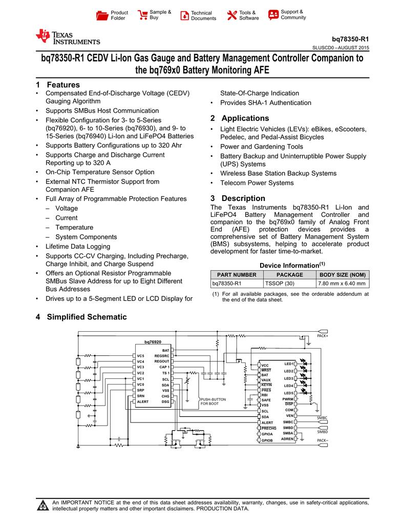 bq78350-R1 CEDV Li-Ion Gas Gauge and Battery Management