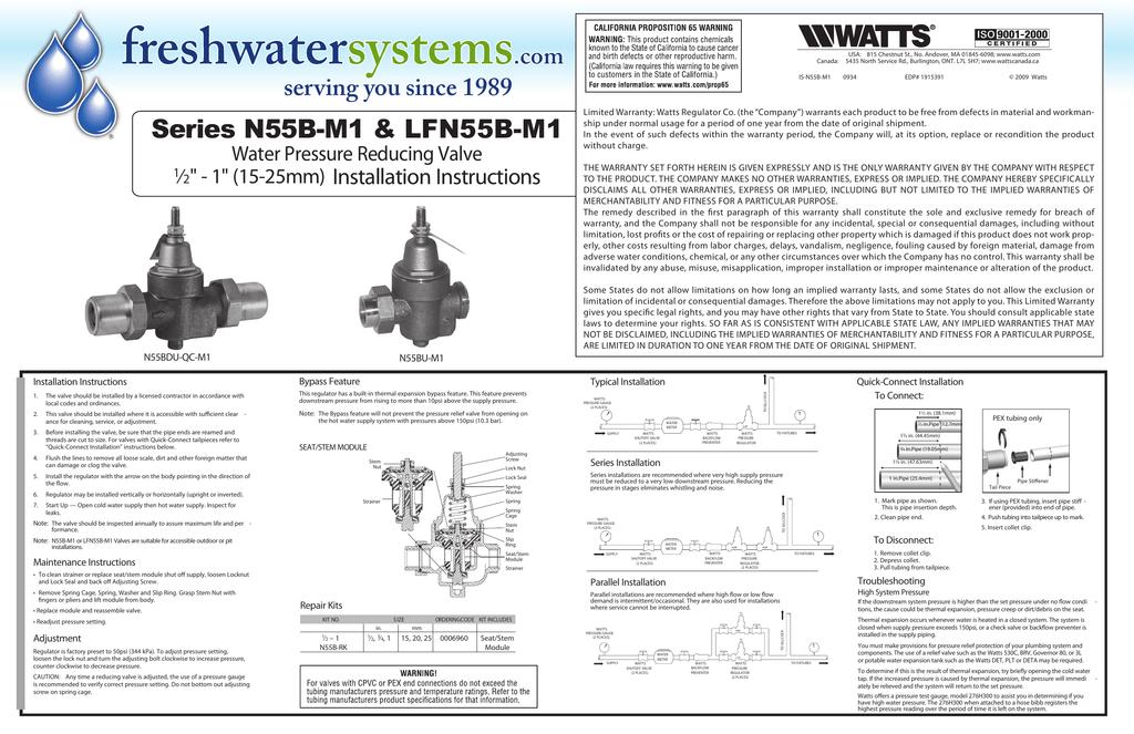 Watts Water Pressure Reducing Valve Installation Instructions