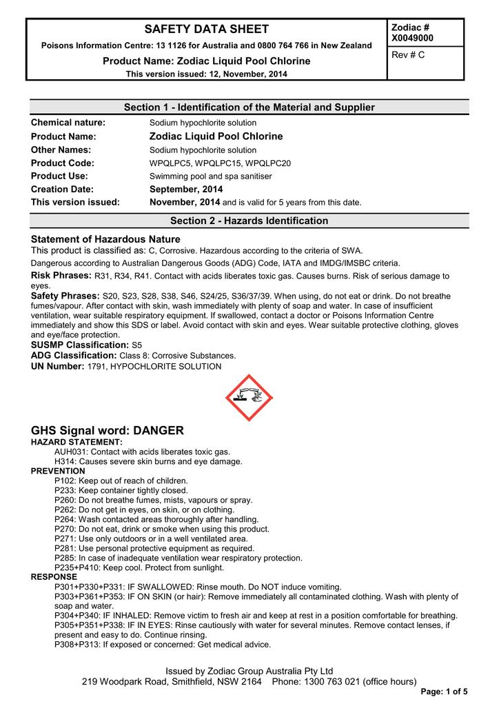 Safety Data Sheet Product Name Zodiac Liquid Pool Chlorine Rev C Manualzz