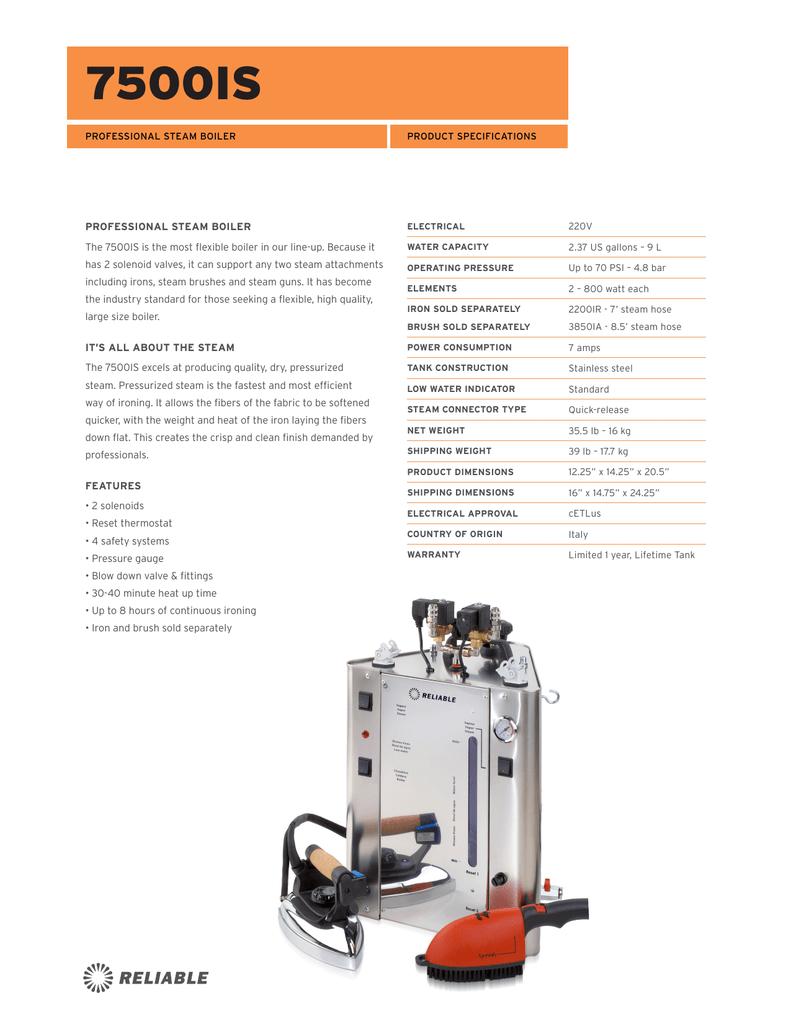 Reliable 3850IA 220V High Pressure Steam Brush