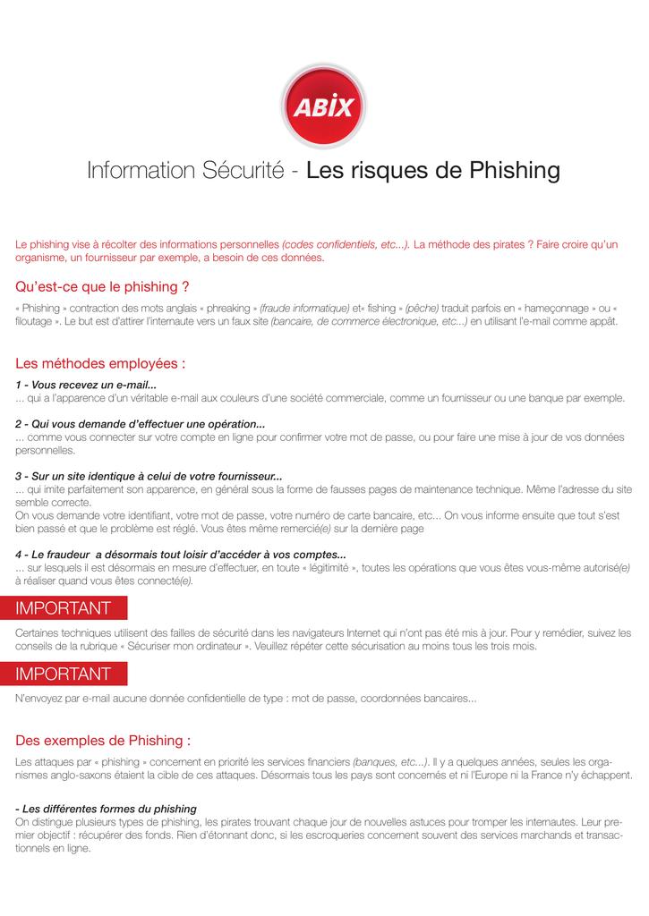 Information Securite Les Risques De Phishing Manualzz Com